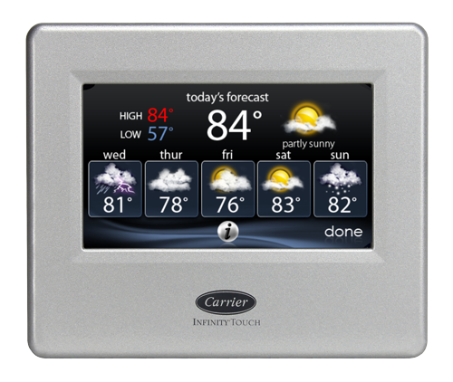 Infinity touch control thermostat with weather